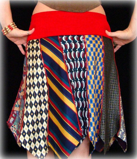 Should be able to make this easy....Upcycled Tie Skirt Bohemian Red by PandorasPassions on Etsy, $35.00