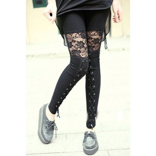 Vintage See-Through Lace Spliced Lace-Up Design Black Ankle Leggings... (23 AUD) ❤ liked on Polyvore featuring pants, leggings, sheer lace pants, see through legging, lace up leggings, see through pants and transparent leggings