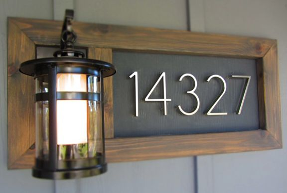House numbers plus outdoor lighting by front door