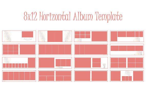 Album Template 8x12 inches Horizontal Album InDesign. Wedding album, engagement album