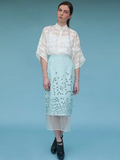 colmillo de morsa perforated leather and silk skirt