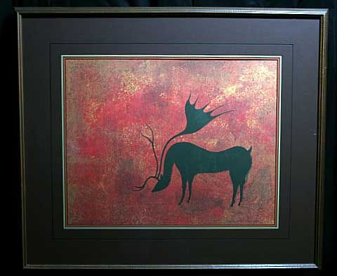 benjamin chee chee images | Framed Print - Cariboo 1974 by Woodland Indian Artist Benjamin Chee ...