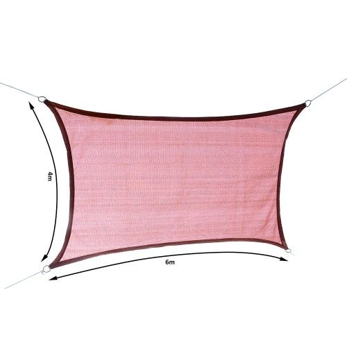 Voile d'ombrage rectangulaire 4x6m couleur terracotta - Aosom.fr
