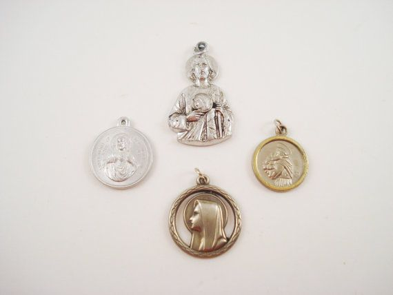 Vintage Catholic Medals, Religious Medals, St Joseph Virgin Mary Our Lady of Mt…
