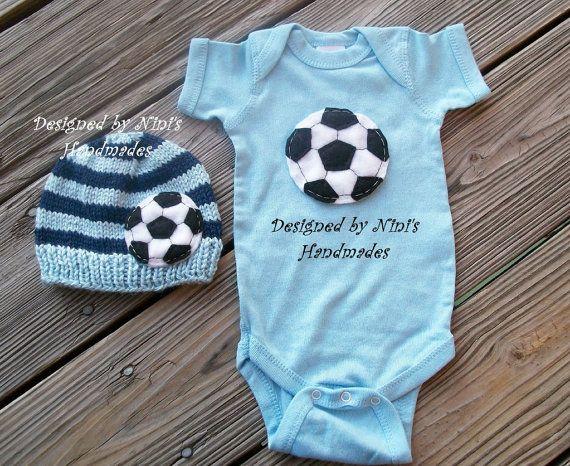 Soccer Set 2 Piece Soccer Hat Soccer Onesie Bodysuit