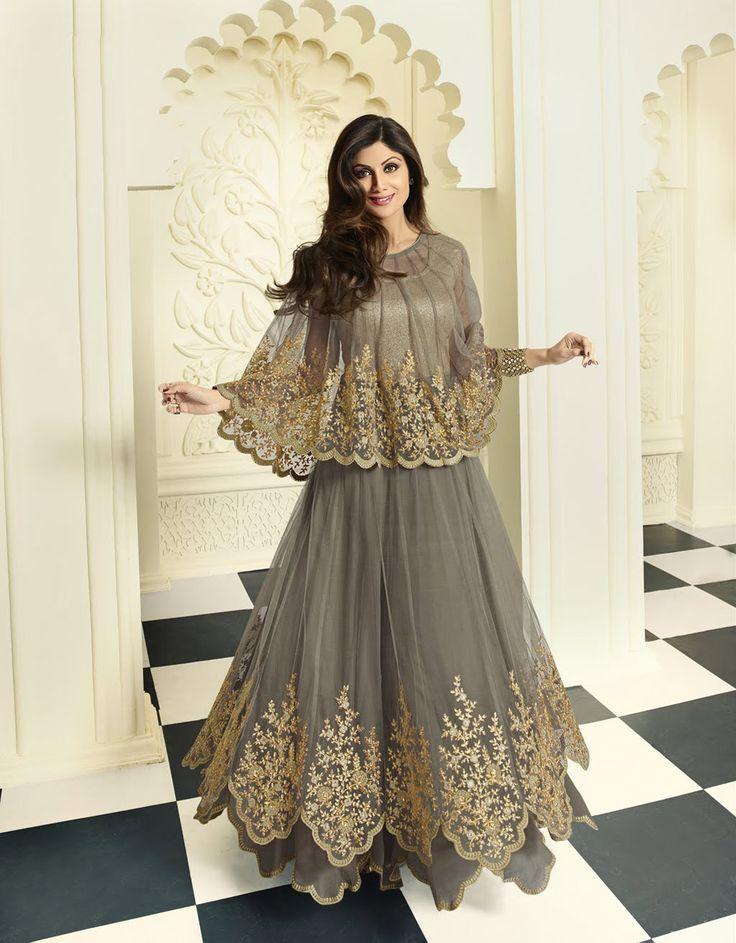 Shilpa Shetty Gray Net Designer Anarkali Suit 70825