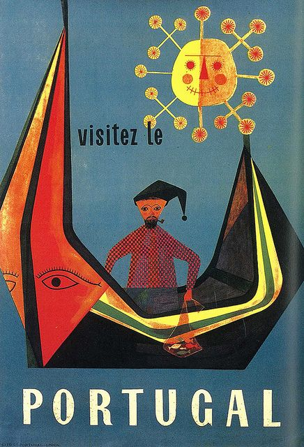 Sebastião Rodrigues , Portugal - Vintage travel beach poster - www.varaldocosmetica.it/en the olive oil cosmetics from the riviera .