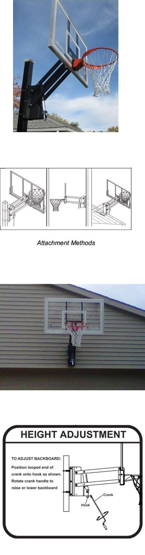 Backboard Systems 21196: Backboard Mounting Kit Basketball Adjustable Bracket Wall Roof Pole Yard Garage -> BUY IT NOW ONLY: $161.35 on eBay!