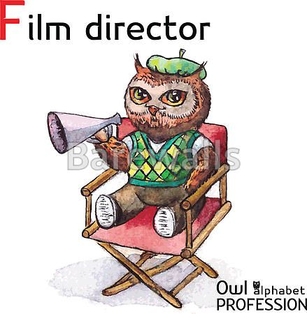 """""""Alphabet professions Owl Letter F - Film Director character on a white background Vector Watercolor."""" - Classroom decor posters and prints available at Barewalls.com"""