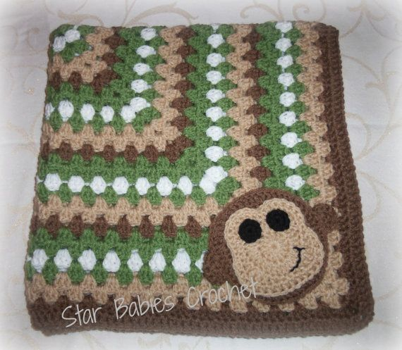 Monkey Business Baby Boy Crochet Blanket - Brown and Green - on Etsy, $50.00
