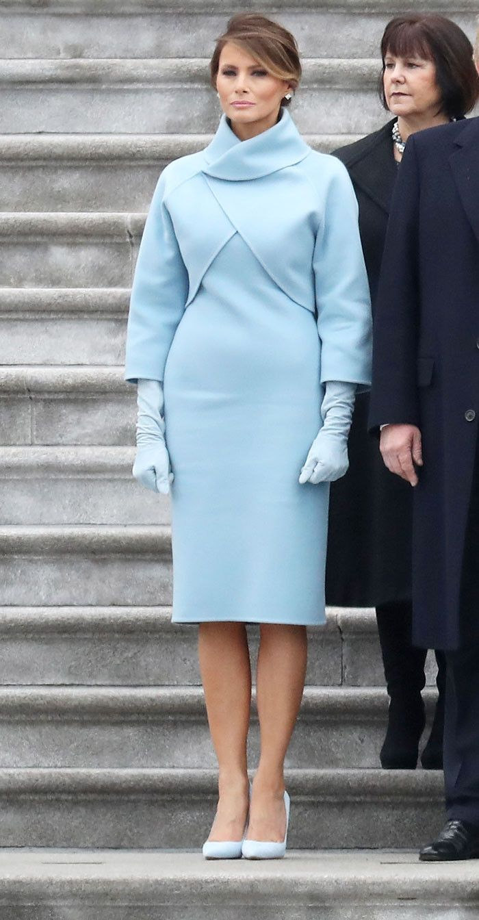 Melania Trump wore a pale blue number by Ralph Lauren for Inauguration Day—see the photo.