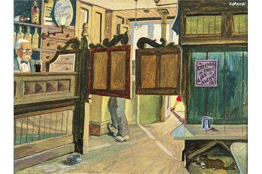 Harry Kernoff RHA (1900-1974)McGillacuddy's Pub, Killarney, Kerry (1943)Oil on board, 15.5 x 20cm