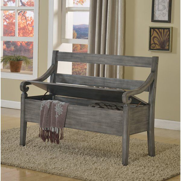 Milana Wooden Arm Storage Bench Grey Storage Bench Bench With