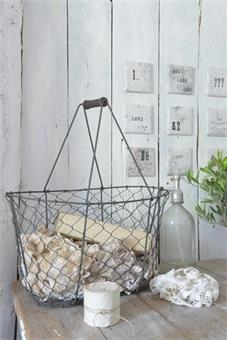 Metall kurv,picnic basket, vintage, jeannedarcliving