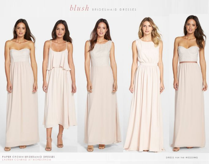 Pale pink bridesmaid dresses in 'Silver Peony' by Lauren Conrad for Paper Crown  Collection: 1.'Breanna'  2. 'Britton'  3. 'Lauren'  4.'Tori' 5. 'Hannah'  *