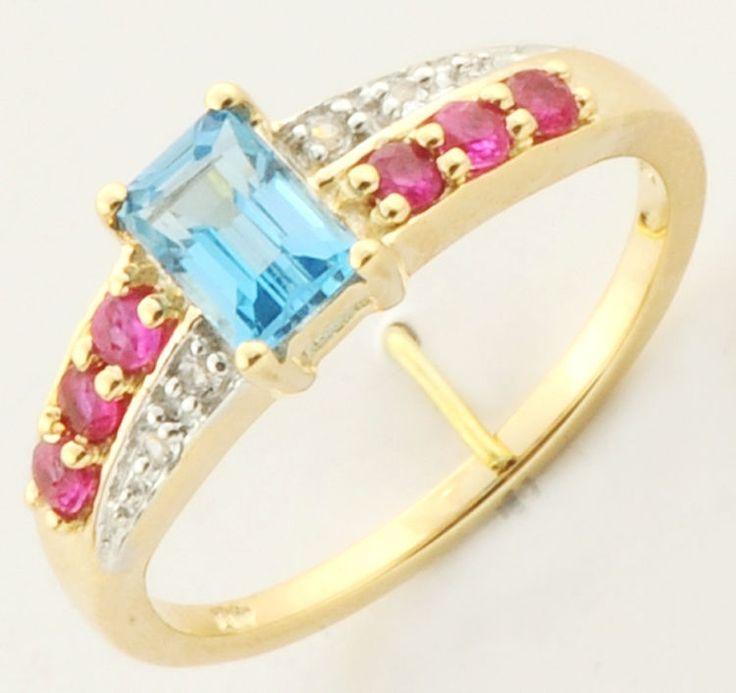 SWISS BLUE TOPAZ RUBY & WHITE TOPAZ GEMSTONE RING IN 10 KT YELLOW GOLD