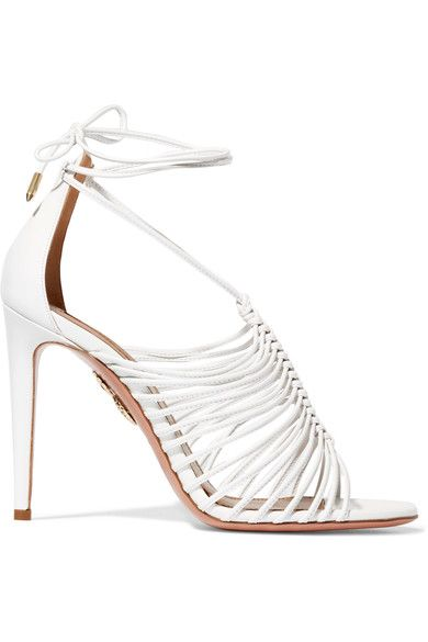 Aquazzura - Nadja Leather Sandals - White - IT39.5