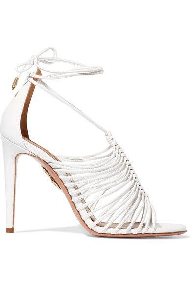 Aquazzura - Nadja Leather Sandals - White - IT39.5