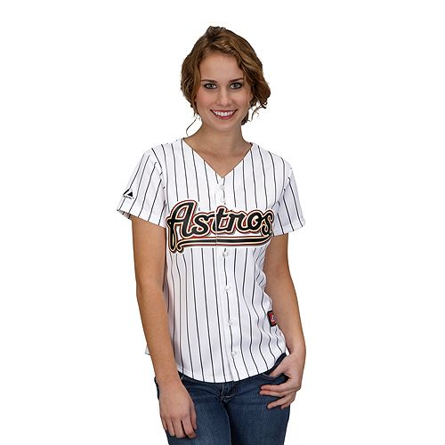 Houston Astros Women's Replica Jersey by Majestic Athletic  Maybe a Mother's Day surprise!!!Majestic Houston, Women Replica, Replica Jersey, Astros Women, Lady Replica, Houston Astros, White Pinstriping, Astros Lady, Nfl Jersey