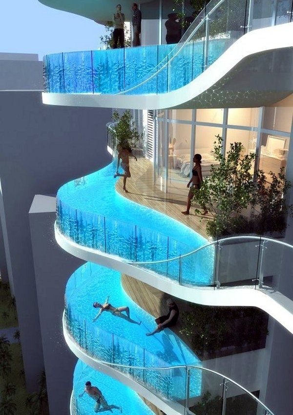 Amazing Hotel Balcony Swimming Pool designs. This is from the InterContinental Festival City Hotel in Dubai. The pool you see there extends beyond the edge of the hotel, and it has a transparent bottom so swimmers and the people below can both have quite a view.