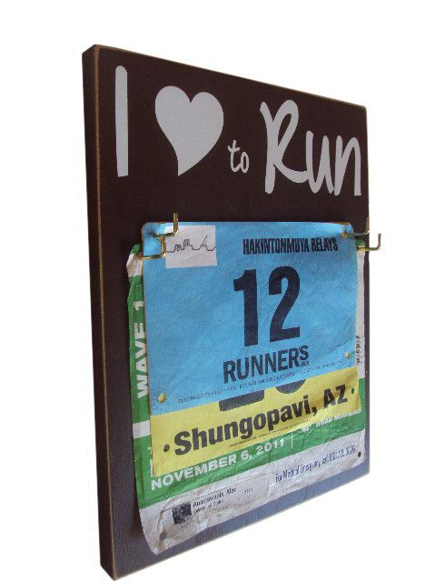 I love to RUN running bibs display by runningonthewall on Etsy