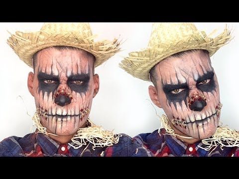 ▶ Zombie Scarecrow Halloween Makeup Tutorial - YouTube