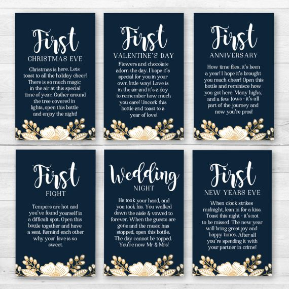 This listing is for Wine labels for A Year of Firsts wedding/bridal shower wine gift basket. Perfect for bridal shower or wedding gifts! Listing includes (1) 4 x 4 - Large tag is customized with your own message and (12) 2.5 x 4 - Firsts tags. Includes printing and shipping directly to you. Your order will arrive within 7-10 business days from date of purchase. If you need them sooner please purchase using the RUSH listing: https://www.etsy.com/listing/514508371/...