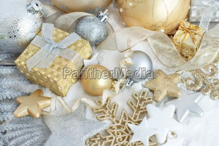 Silver and golden Christmas decorations -  Royalty Free Stock Photo - 19591932