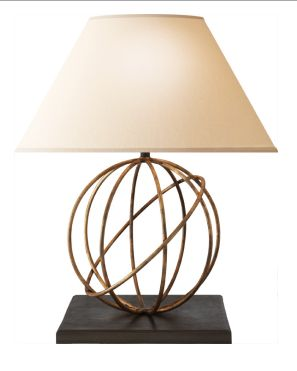 Visual Comfort Studio Orbe 1 Light Decorative Table Lamp In Gilded Iron With Wax