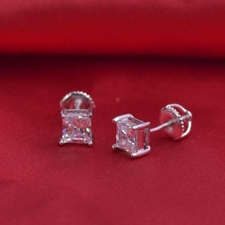 LSE939 Sterling Silver CZ Stud Earrings jewelry 6mm Round AAA Cubic Zirconia w/ SCREW BACKS 5mm,
