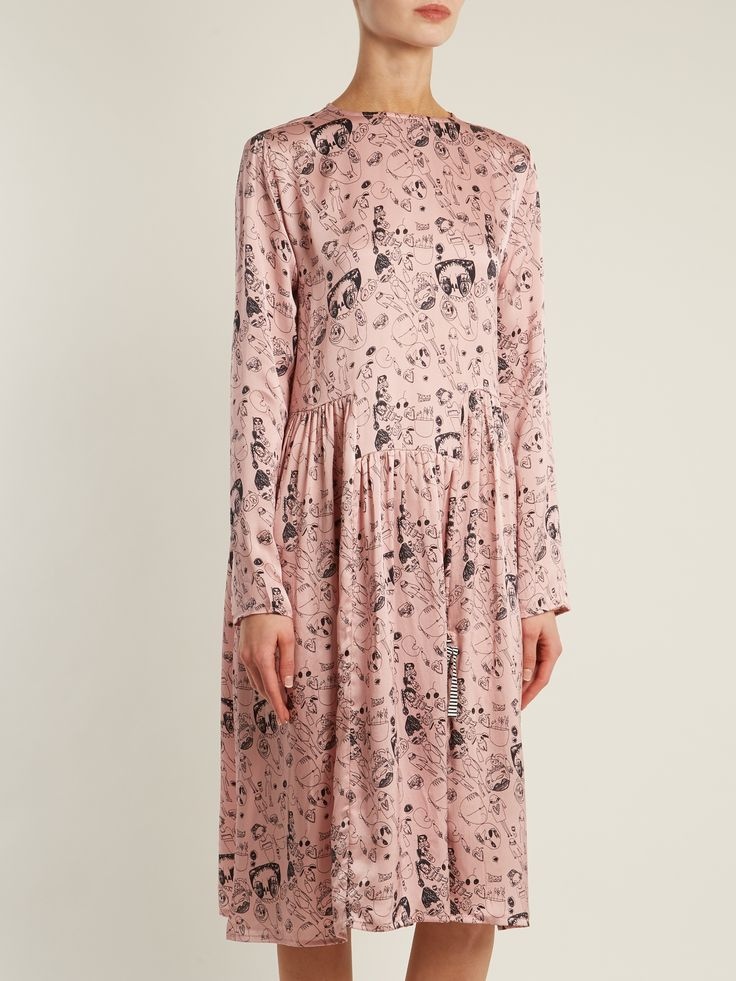 Click here to buy Shrimps Heather doodle-print silk dress at MATCHESFASHION.COM
