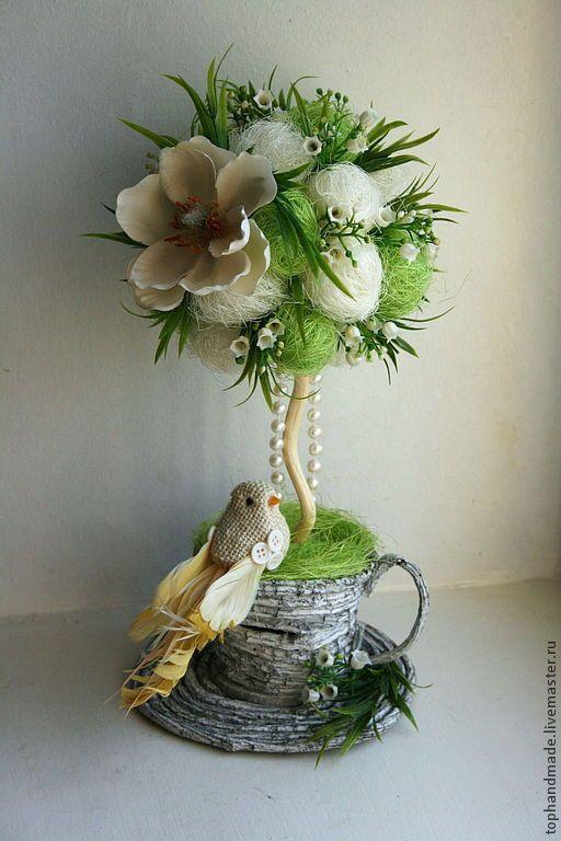 Топиарии ручной работы. Ярмарка Мастеров - ручная работа. Купить Весна, весна, весна прийде!. Handmade. Салатовый, первоцветы, топиарий