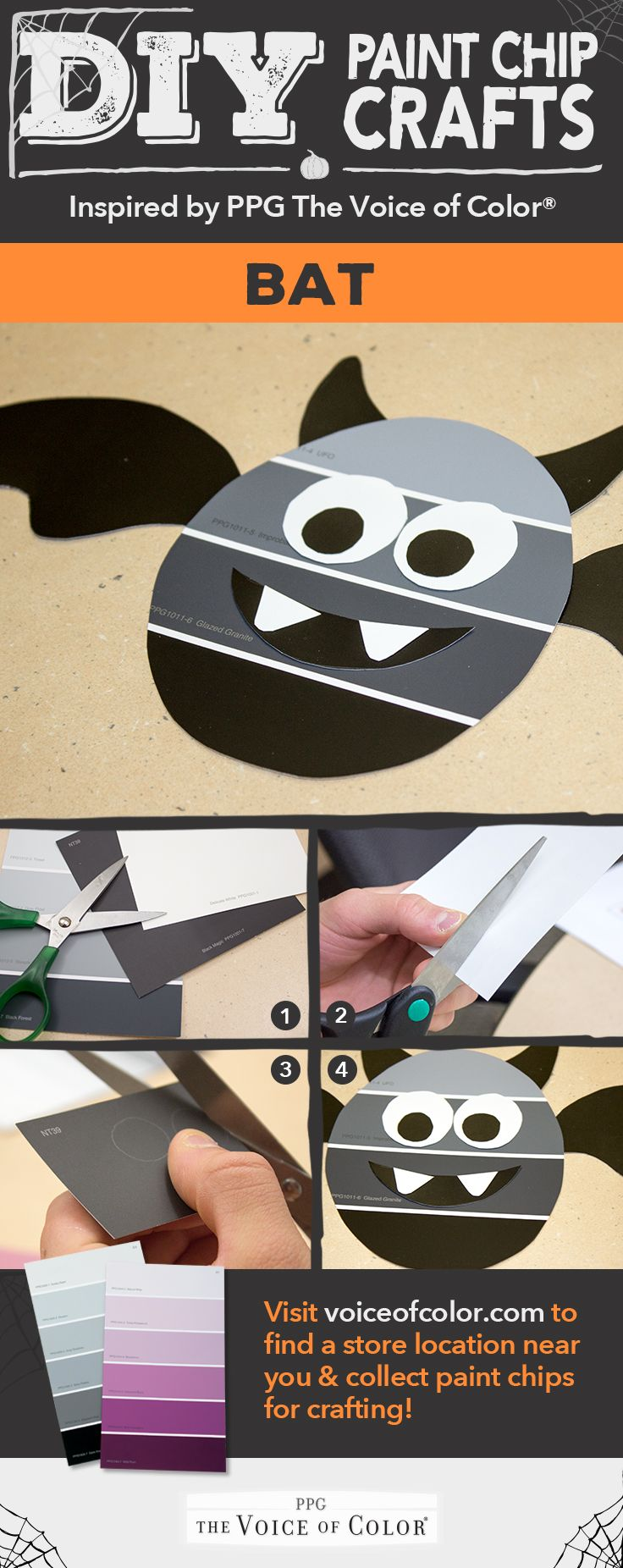 create a bat halloween decoration with paint chips commercial industrial and residential coatings for professionals and do it yourselfers - Commercial Halloween Decorations