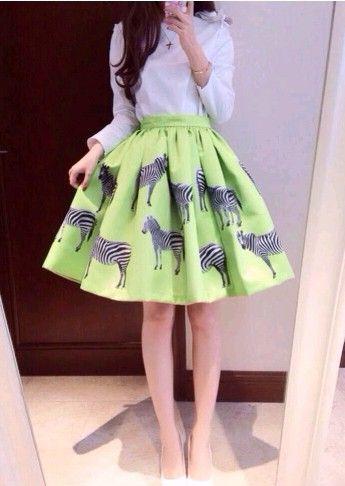 Nouvelle mode des femmes 2014 vogue, jupes des femmes jupe robe de bal d'impression. zébrée. solide. en coton vert