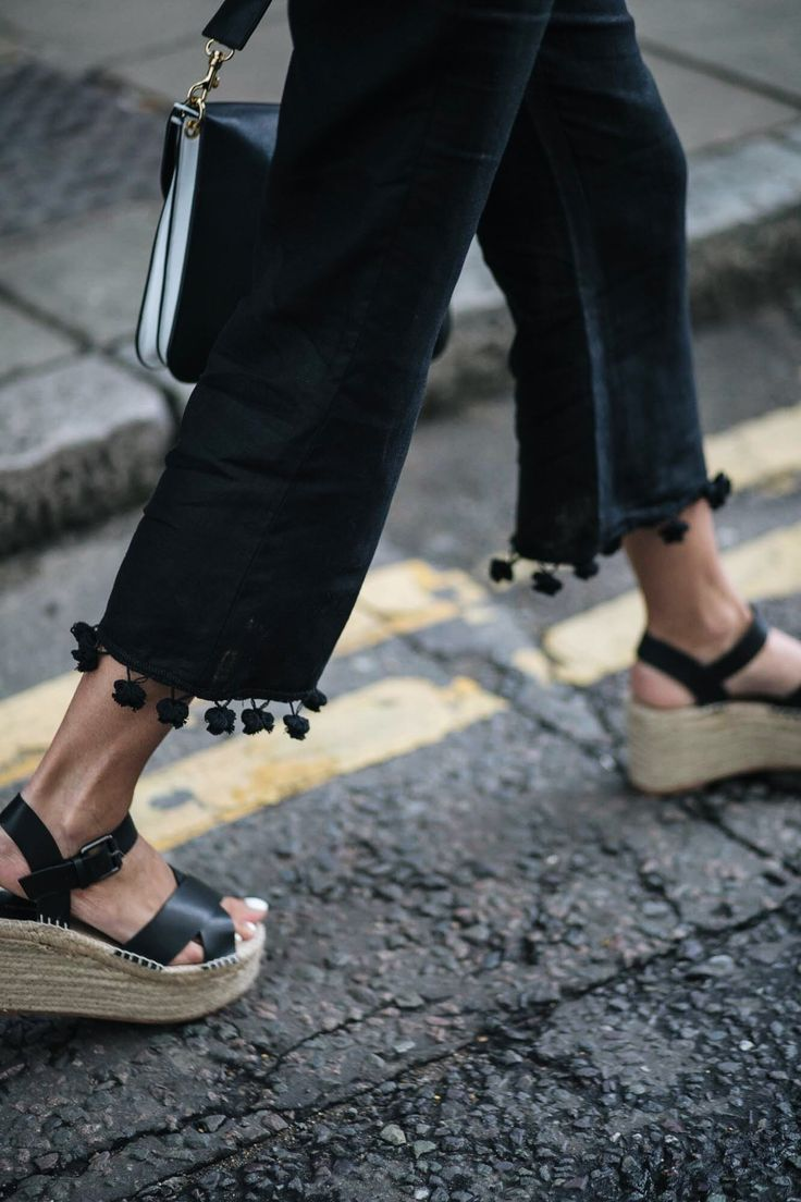 Zara pom pom hem black cropped trousers, wedge espadrilles, street style, summer style