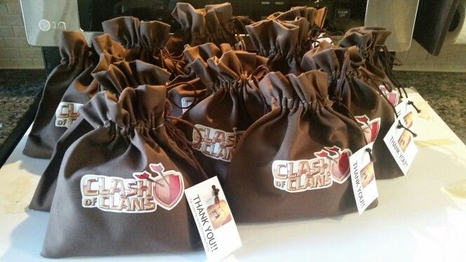 Goodie bag for a Clash of Clan birthday party