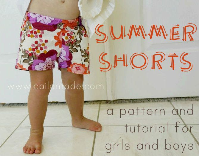 Summer Shorts! Free Pattern and Tutorial.  She also gives you the ratios to print the pattern in different sizes.