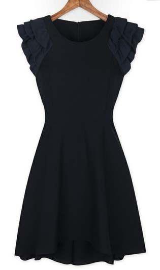 Classic A Line Design Black Dress for Woman