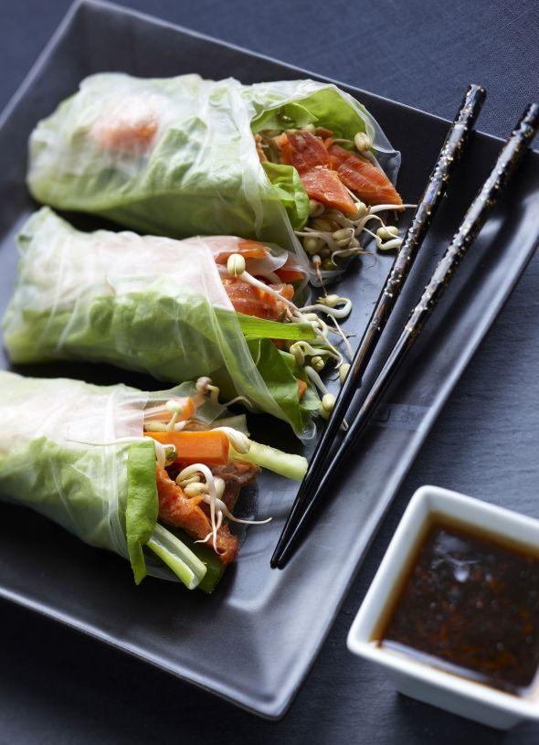 Lohi-kasviskääröt, resepti – Ruoka.fi - Salmon and vegetable rolls - ideal for Brunch