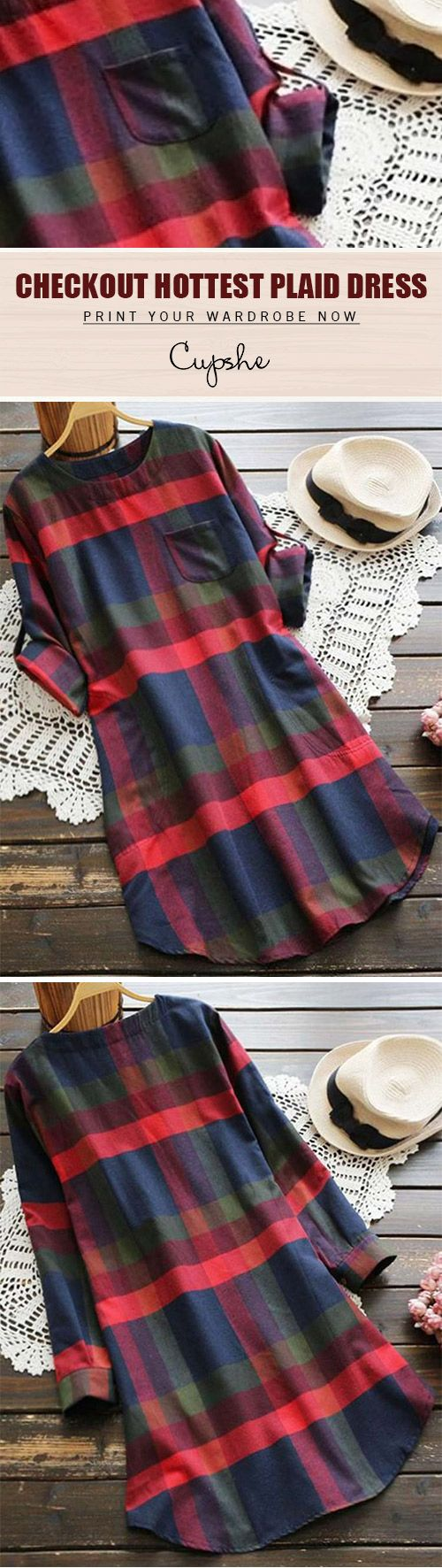 Hahaa! Plaid lovers now get with $25.99 Only! This midi dress detailed with Zip&Pocket at side gonna be your favorite stuff for this coming season! This amazing piece is available at Cupshe.com
