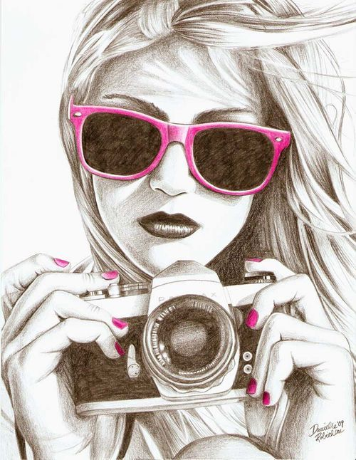 I love that this is a pencil drawing. I also love that it is all in black and white except for the splashes of pink. It really makes her glasses and nails stand out.