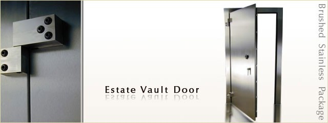 If you are looking for a fortified but stylish vault door, our stainless package or our antique vault doors will definitely be to your liking. In swing vault door option for your saferoom doors.