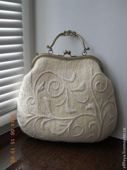 """Сумочка """"Винтаж"""" - белый,однотонный,изысканная сумочка,винтажный стиль"""