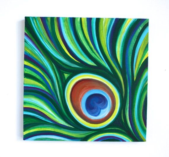 10 X 10 Original Acrylic Abstract Peacock Feather By