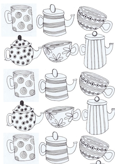 Tea cups and Tea pots Art Print - but could be an idea for embroidery - or applique with spotted, striped and patterned fabric?