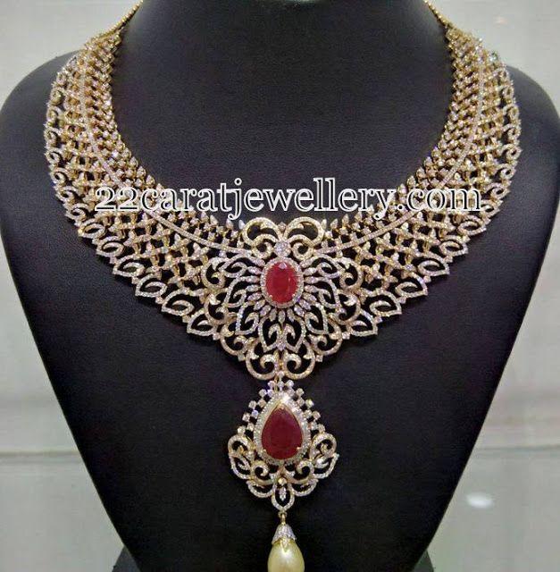 Jewellery Designs: Belgium Diamonds Heavy Necklace