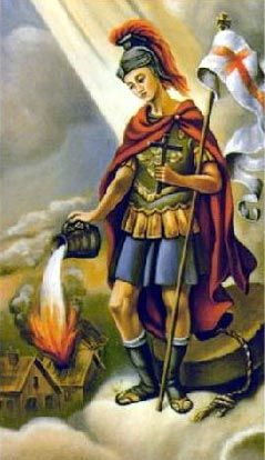 St. Florian, patron saint of chimney sweeps, soapmakers, and firefighters. Click 4more