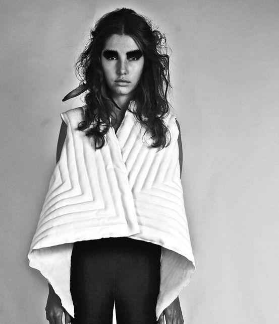 "Geometric White Vest from ""Tribal Future"", the 2012 collection by swiss/swedish designer SARA BURKHARD."