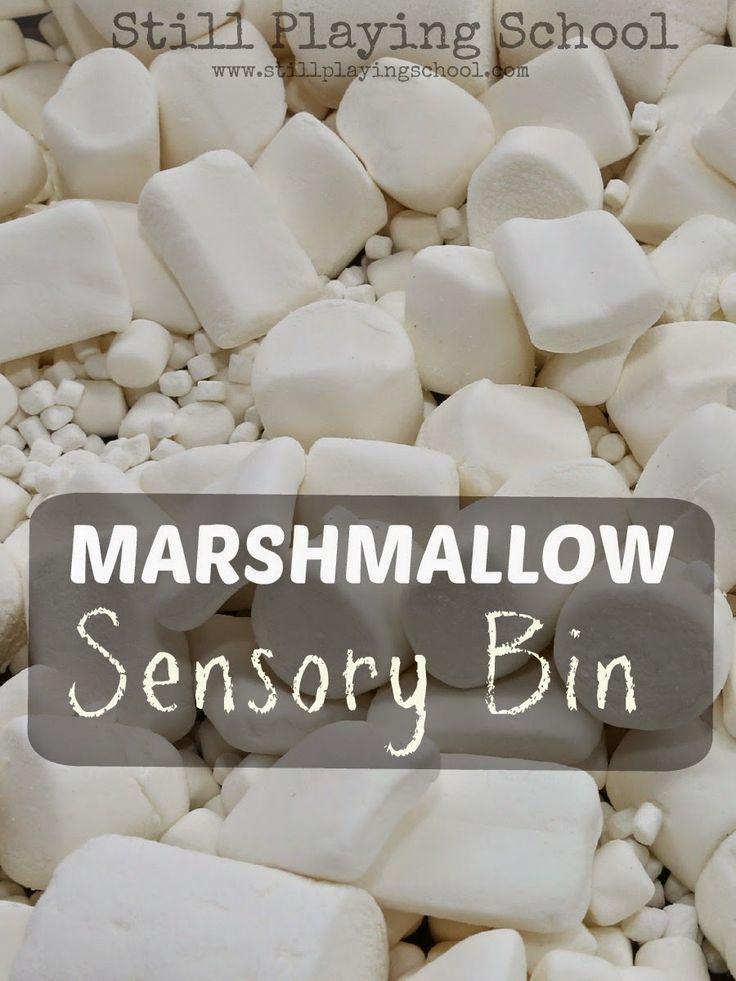 Marshmallow Sensory Bin: Edible Play from Still Playing School