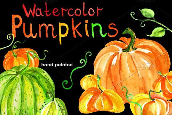 Watercolor set of pumpkins by helgafo on @creativemarket
